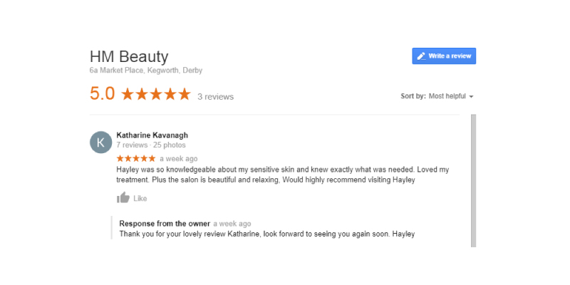 HM Beauty Salon Kegworth 5 star facebook reviews